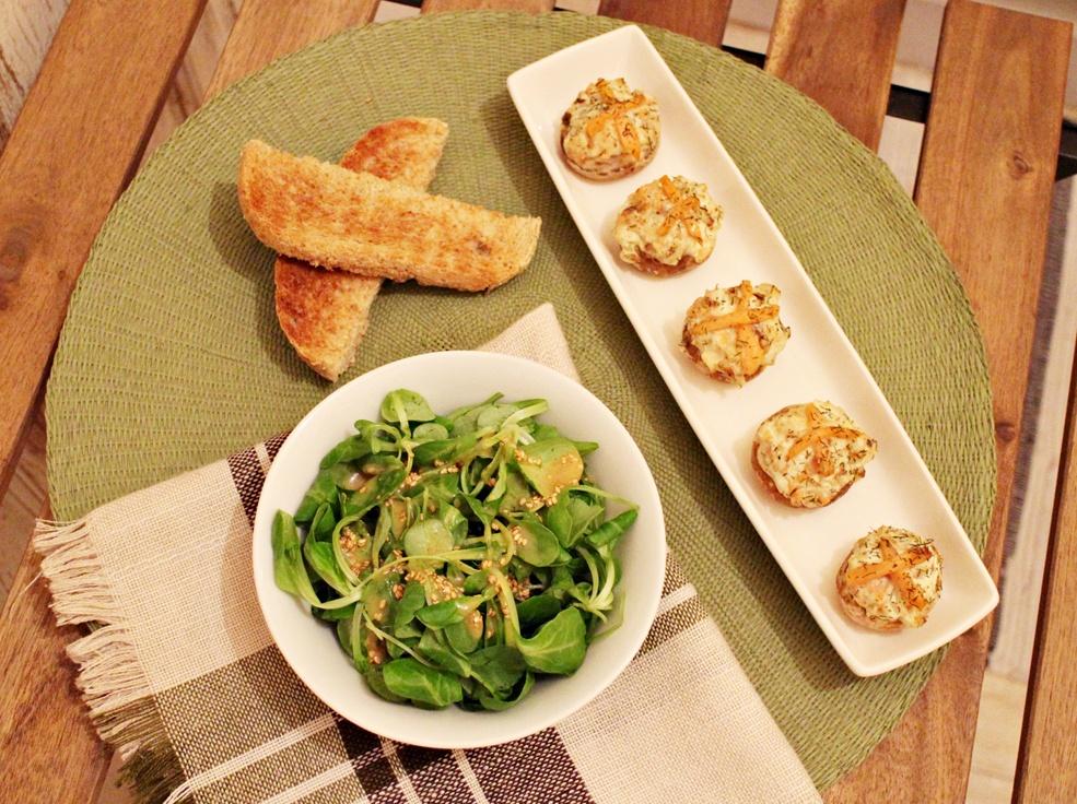 receta champiñones rellenos, receta ligera, aurora vega cook, blog cocina, blog mallorca, champiñones rellenos de queso crema y salmón