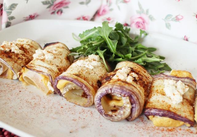 rollitos de berenjena rellenos de hummus